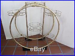Mid-Century Modern Metal Round 6 Plant Stand Holder Shelf retro Gold tone 25
