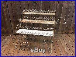 Mid Century Modern Plant Stand Cart white shelf planter metal vintage 50s garden