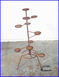 Mid Century Modern Plant Stand Garden Metal Iron Frame Vintage Outdoor Indoor