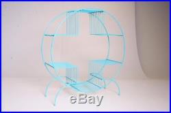 Mid Century Modern Round Plant Stand teal shelf planter metal vintage wire hoop