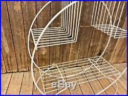 Mid Century Modern Round Plant Stand white shelf planter metal vintage tier hoop