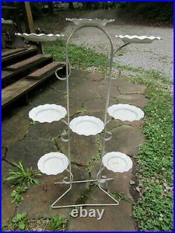 Mid Century Modern Tempestini Salterini Style Plant Stand for 8 Flower Pots