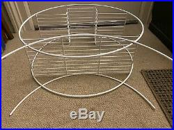 Mid Century Modern White Round Tiered Wire Hoop Plant Stand Vintage Art Deco