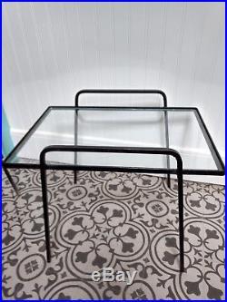 Mid Century Nesting 3 Table Outdoor Patio Glass Black Cast Metal Iron VTG Hotel