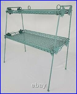 Mid-Century Plant Stand Display Shelf Mesh Metal Russell Woodard Atomic Vintage