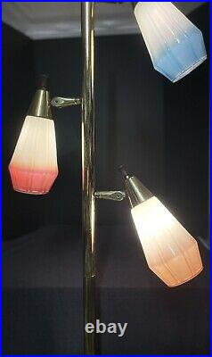 Mid-Century Retro Standing Floor Pole Lamp Brass & 3 Colored Glass Globes WORKS