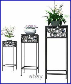 Modern 3PC Metal Plant Stand Flower Pot Holder Stand Garden Indoor Outdoor Black