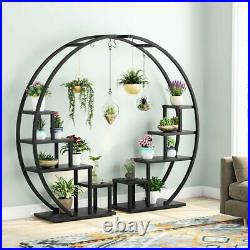 Modern Bonsai Flower Pot Holder with 6 Hooks 5 Tier Plant Stand for Home Balcony
