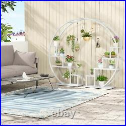 Modern Bonsai Flower Pot Holder with 6 Hooks 5 Tier Plant Stand for Home Indoor