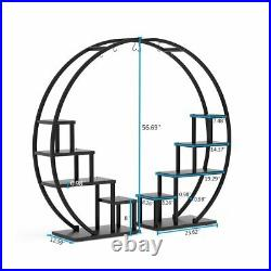 Multi-Tiered Plant Stand Curved Open Display Shelf for Living Room Home Indoor