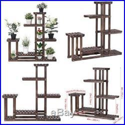 Natural Wood 6 Tier Plant Pot Flower Stand Rack Multi Level Modern Look Design