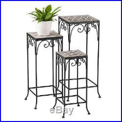 Nesting Plant Stand 3 Piece Set Square Flower Tables Black Accent Home Decor New