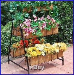 New Black Metal Outdoor Newport 3 Tiered Basket Garden Patio Planter Plant Stand