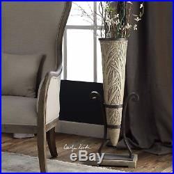 New Modern 35 Carved Stone Style Display Floor Vase Plant Stand Uttermost