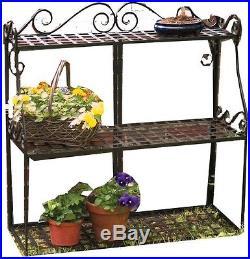 New Panacea Indoor/Outdoor Forged Steel Metal 3-Tier Garden Plant Stand