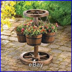 New Wagon Wheel Planter Outdoor Western Wood Buckets Flower Yard Garden Patio