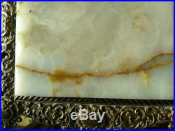 Old Antique Plant Fern Stand Onyx Marble Top Side Table Pedestal Art Nouveau Era