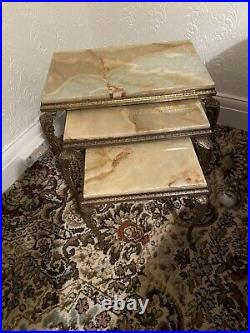 Onyx And Brass Nesting Tables, Coffee Table, Plant Stands, Occasional Tables