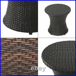Outdoor Accent Table Side Garden Patio Round Wicker Brown Furniture Plant Stand
