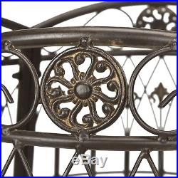Outdoor Garden Living Ally Brown Wrought Iron Round Tree Bench Plant Stand Sttol