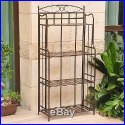 Outdoor Indoor Bakers Rack Plant Stand Patio Wrought Iron Folding Bronze Finish