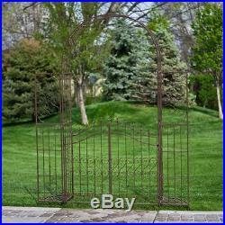 Outdoor Metal Gate Arbor with Plant Stands Garden Pergola Arch Iron Trellises