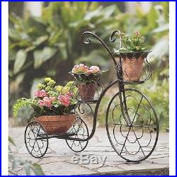 Outdoor Metal Plant Stand Tricycle Flowers Decoration Display Garden Patio Decor