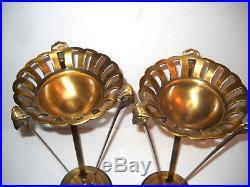 PAIR Vintage Mid Century Hollywood Regency Tall Pedestal Brass Ornate Planters