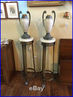 Pair of Metal Plant Stands with Vases