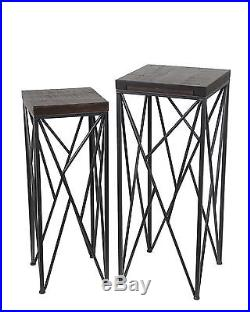 Pair of Nesting Dark Brown Wood and Metal Plant Stands Square
