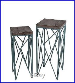 Pair of Nesting Distressed Finish Wood and Blue Metal Plant Stands Square