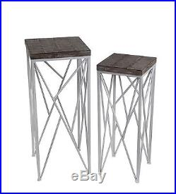 Pair of Nesting Distressed Finish Wood and White Metal Plant Stands Square