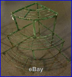Period Vintage Wrought Iron 3 Tier Plant Stand in Paint Unusual Form