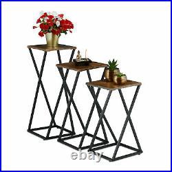 Pflanzenständer 3er Set, Blumensäule Metall Blumenständer Holzoptik Blumenhocker