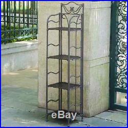 Plant Rack Metal Stand 4 Tier Shelf Resin Wicker Shelves Antique Brown Outdoor
