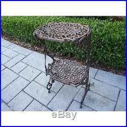 Plant Stand 2-Level Cast-Iron UV Weather-Resistant Powder-Coated Antique Bronze