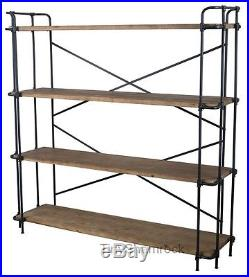 Plant Stand Bakers Rack Book Shelf Industrial Style Iron Wood Wide Bookcase NEW