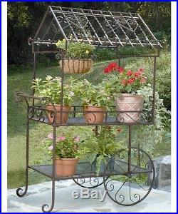 Plant Stand Flower Cart Garden Decor Planter Pot Metal Patio Yard Holder Outdoor