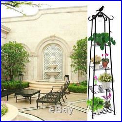 Plant Stand Flower Rack with Solar Light Bird Metal Display Shelf Garden 4 Tier