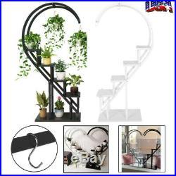 Plant Stand Garden Decor Planter Holder Flower Pot Display Shelf Rack with Hooks