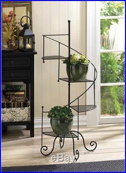 Plant Stand Metal Iron 3 Tier Indoor Outdoor Contemporary Patio Garden Decor