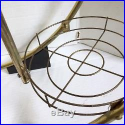 Plant Stand Mid-Century Atomic Metal Round Circle Shelf Gold Tone 25