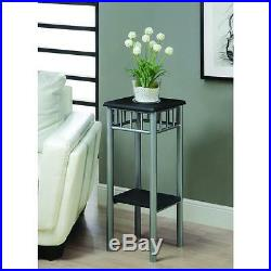 Plant Stand Square 2 Tier Shelf Metal Wood Flower Home Decor Indoor Furniture