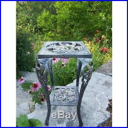 Plant Stand Table 28 in Metal Grey Outdoor Garden Patio Planter Stands Decor New