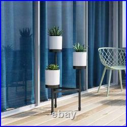 Plant Stand Trio White Pots Black Steel Modern Indoor Living Room Garden