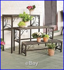 Plant Stands Indoor Metal Outdoor Set of Three Nesting Scrollwork Powder Coated