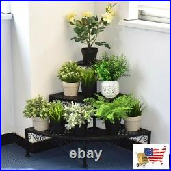 Plant Stands Style 3 Tier Corner Metal Flower Ladder Plant Stand Black Steel