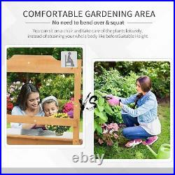 Potting Table Outdoor Plant Pot Garden Work Bench Wooden Stand Hooks Box Shelf