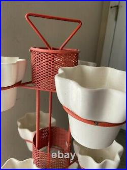 RARE Mid-Century Modern 3 TIER Metal & MESH PLANTER with 9 Orig. Pottery POTS