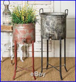 RUSTIC FARMHOUSE DECOR 2pc Spigot Flower Tubs w Stands Galvanized Metal Planters